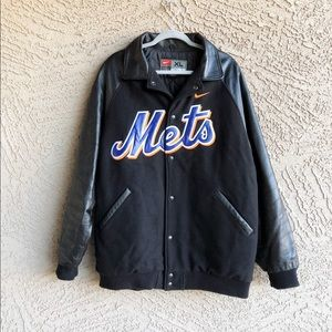 NIKE METS Leather Wool Baseball Varsity Jacket
